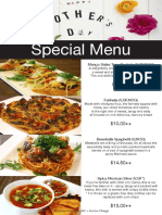 Mother's Day Special Menu 2016