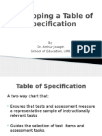 table of specification 3