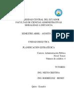 Unidad Didáctica Planificación Estratégica ADMINISTRACIÓN PÚBLICA UCE