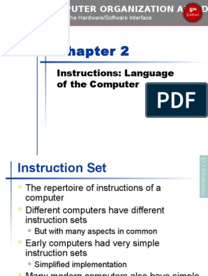 Chapter 02 Computer Organization And Design Fifth Edition The Hardware Software Interface The Morgan Kaufmann Series In Computer Architecture And Design 5th Edition Library Computing Arm Architecture