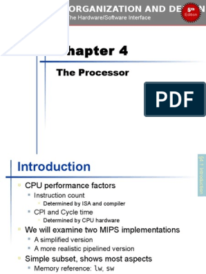 Chapter 04 Computer Organization And Design Fifth Edition The Hardware Software Interface The Morgan Kaufmann Series In Computer Architecture And Design 5th Edition Instruction Set Central Processing Unit