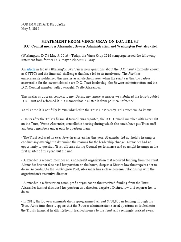 Statement from vince gray on dc trust washington politics 1betcityfo Images