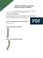Cuestionario Formulas Generales de Las Grasas