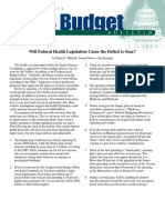 Will Federal Health Legislation Cause the Deficit to Soar?, Cato Tax & Budget Bulletin