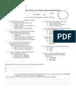 evaluacion trece casos misteriosos 6°