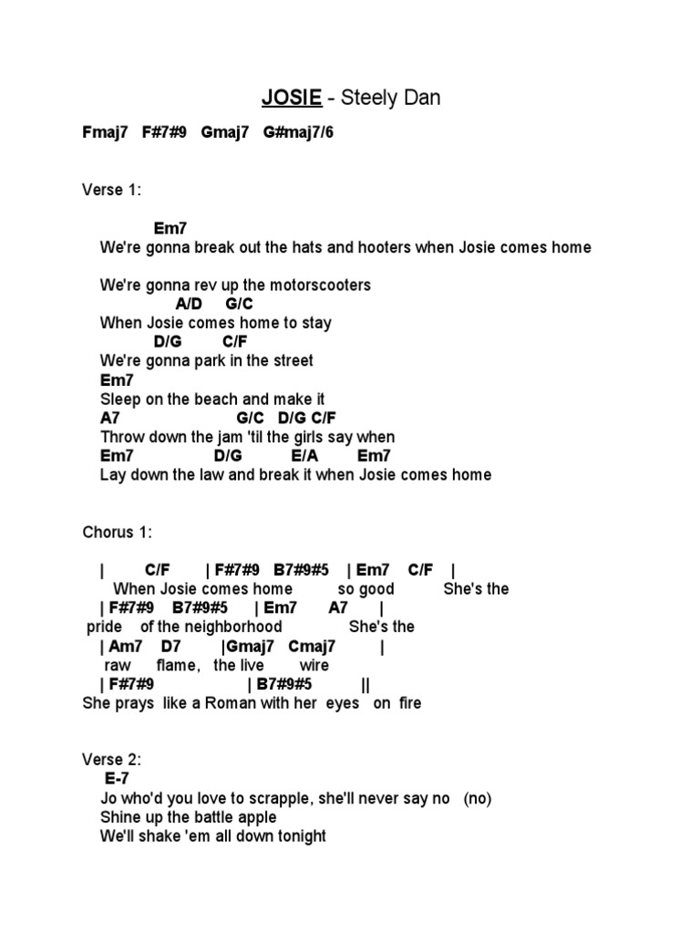 Josie Chord Chart With Lyrics   Steely Dan   Song Structure ...