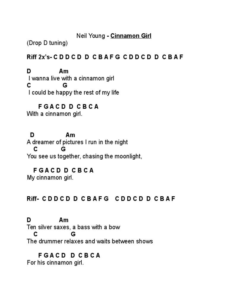 Cinnamon Girl Chord Chart   Recorded Music   Songs