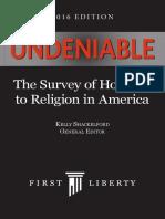 Undeniable, The Survey of Hostility to Religion in America, 2016 Ed. - Kelly Shackelford