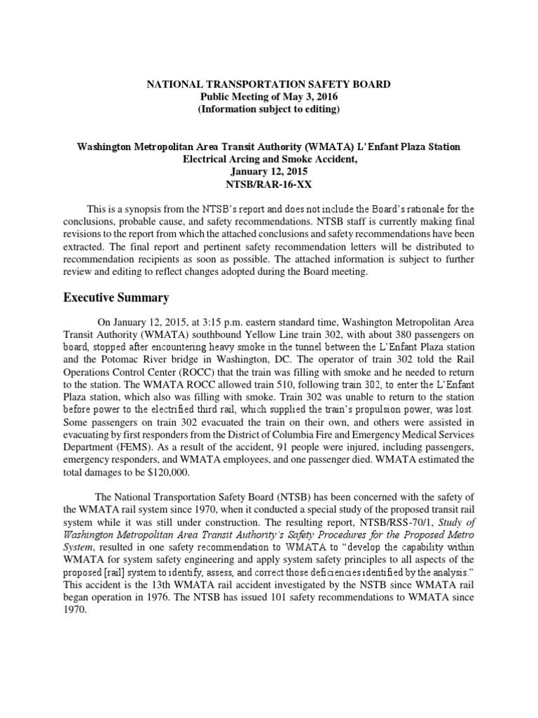 ntsb dc metro smoke incident report