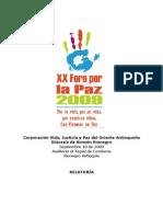 Relatoría Foro por la Paz 2009