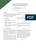 Relatório Determinação da gravidade usando um pênculo simples