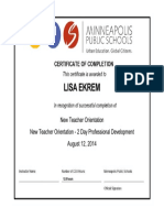 new teacher orientation certificate
