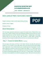 Inka Jungle Trek 4 Days and 3 Nights