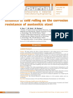 Influence of Cold Rolling on the Corrosion Resistance of Austenitic Steel