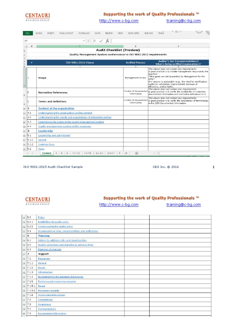 ISO 9001:2015 Audit checklist in MS Excel (preview)   Iso