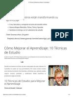 10 Técnicas de Estudio Para Mejorar El Aprendizaje