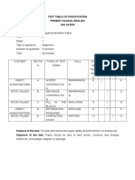 Test Table of Specification
