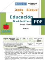 Plan 2do Grado - Bloque 5 Educación Artística