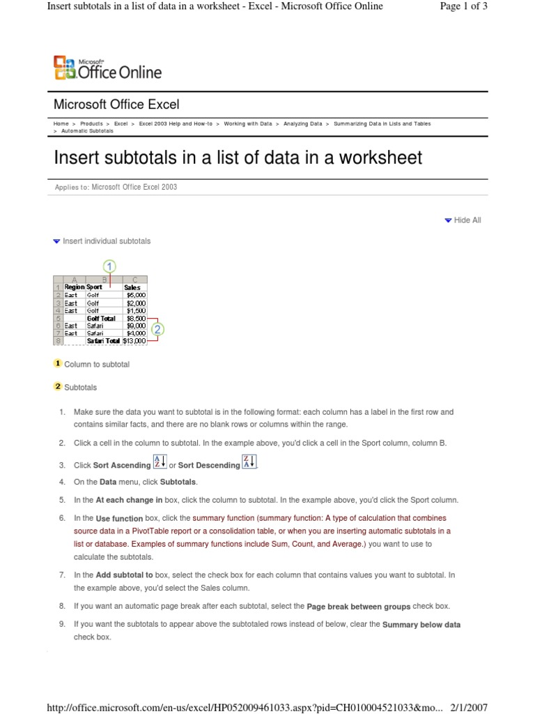 Subtotals excel microsoft excel table database ibookread PDF