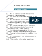 CPE Writing Part 2 – Example Letter