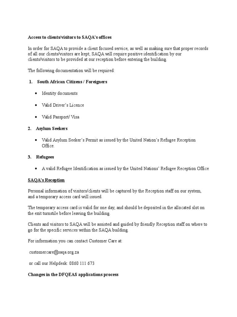 Saqa Information Identity Document Government