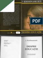 Despre Educatie de Jiddu Krishnamurti