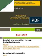Intro to Lxs- Phonetics- Internet Resources- Spr 16