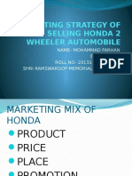 marketing strategy of selling honda 2 wheeler automobile