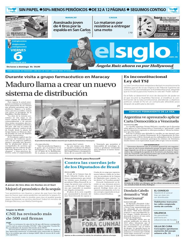 Edición Impresa El Siglo 06-05-2016