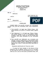 Judicial Partition sample | Lawsuit | Complaint