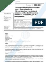 NBR 6601 - 2001 - Veiculos Rodoviarios Auto Mot Ores Leves - Determinacao de Hidrocarbonetos Monox