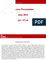3-Final SIB Investor Presentation - Q1-FY16 (June 2015