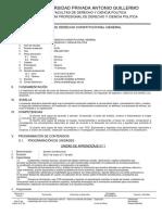 Sílabo de Derecho Constitucional General - UPAGU 2016
