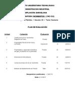 Plan de Evaluacion Yacimientos (Semestre I-2016)