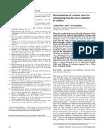 Determination of Calcium Dose for Minimizing Fluoride Toxicity
