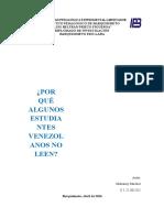 ensayo sobre porque los estudiantes venezolanos no leen