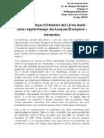Étude Critique d'Utilisation Des Livres Audio Dans l'Apprentissage Des Langues Étrangères Plan 3