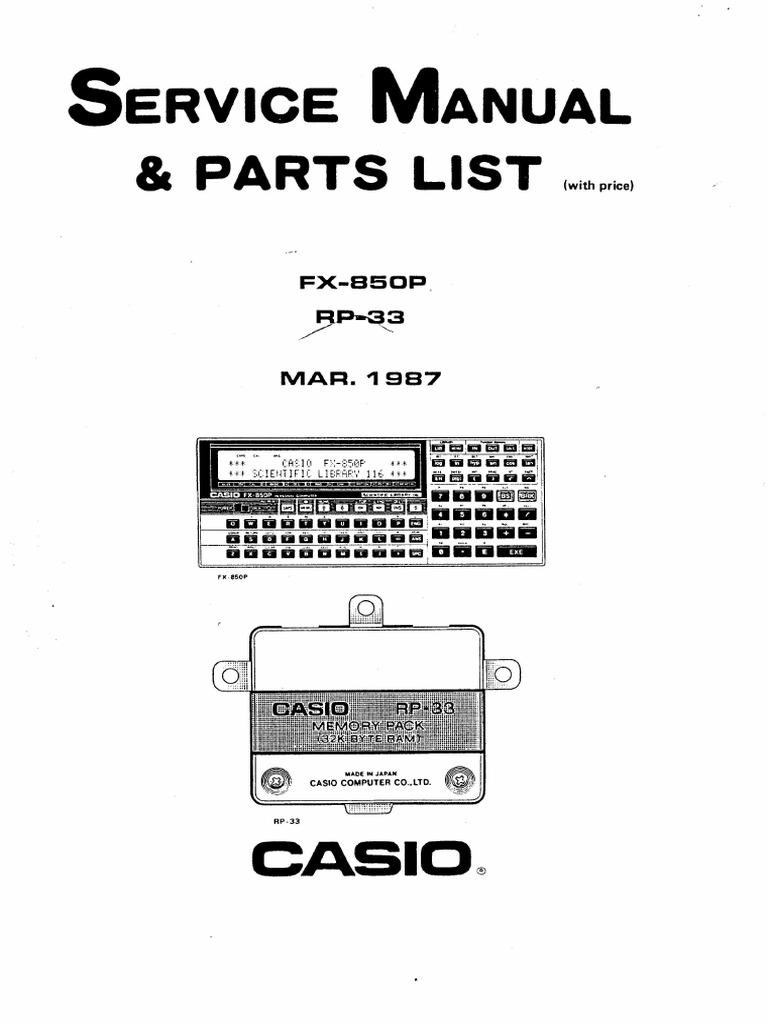 Casio FX-850P Service Manual1
