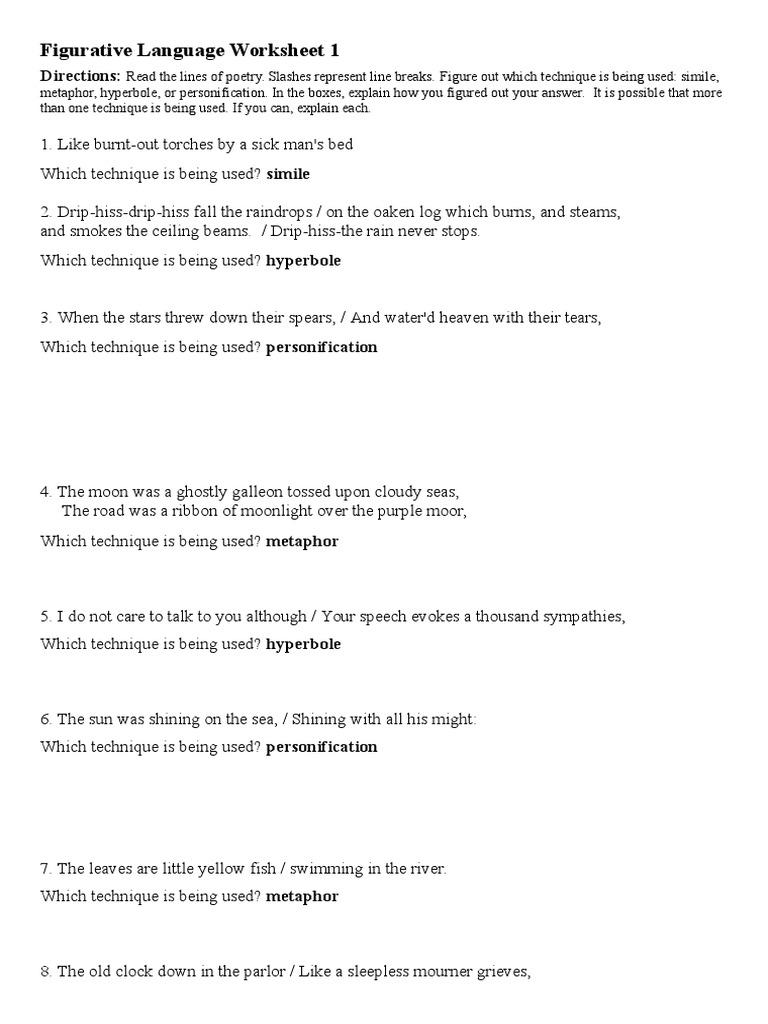 Figurative Language Worksheet 1 – Simile Metaphor Personification Worksheet