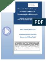 """""""BOLETÍN INFORMATIVO"""" Pronóstico para el trimestre Marzo-Abril- Mayo2016.pdf"""