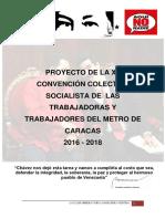 Proyecto de La XII Convención Colectiva Socialista de Las Trabajadoras y Trabajadores Del Metro de Caracas 2016-2018