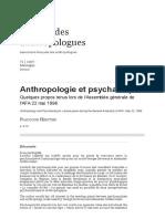 Anthropologie Et Psychanalyse