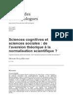 Sciences Cognitives Et Sciences Sociales