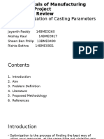 Optimization of Casting Parameters