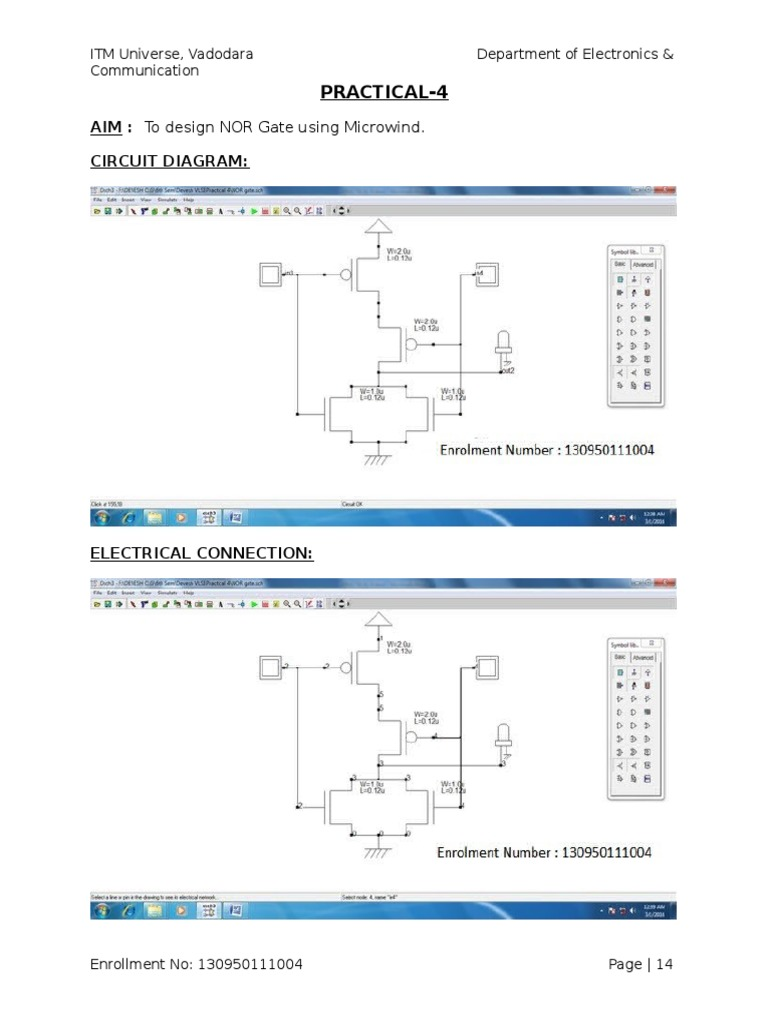 Nor Gate Design Using Microwind Circuit Diagram For