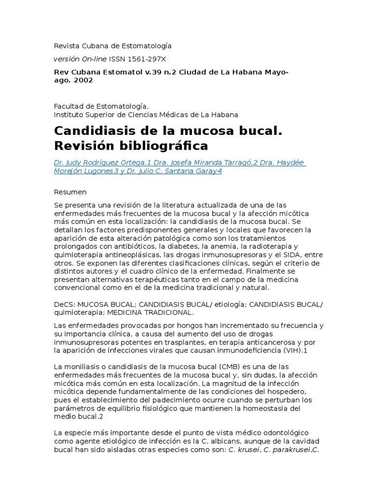 Infecciones micoticas de la cavidad oral