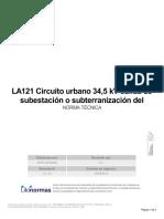 LA121 Circuito Urbano 34,5 KV Salida de Subestación o Subterranización Del Circuito Principal