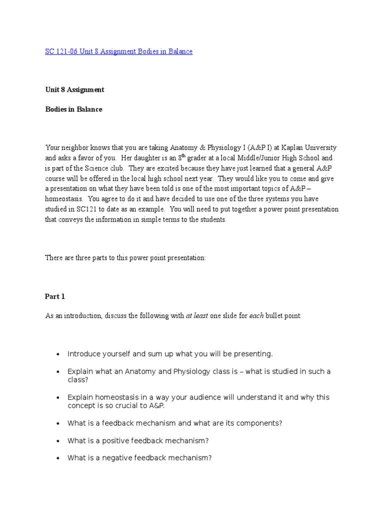 SC 121-06 Unit 8 Assignment Bodies in Balance | Homeostasis | Citation