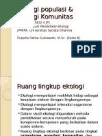 Ekologi Populasi Ekologi Komunitas