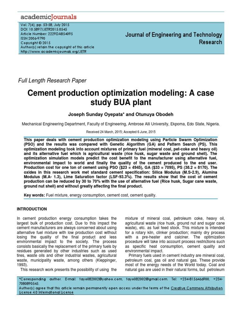 Cement Production Optimization Modeling | Cement